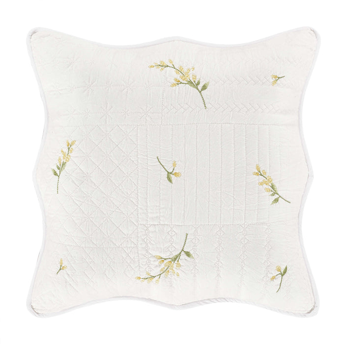 Sandra White Square Decorative Throw Pillow