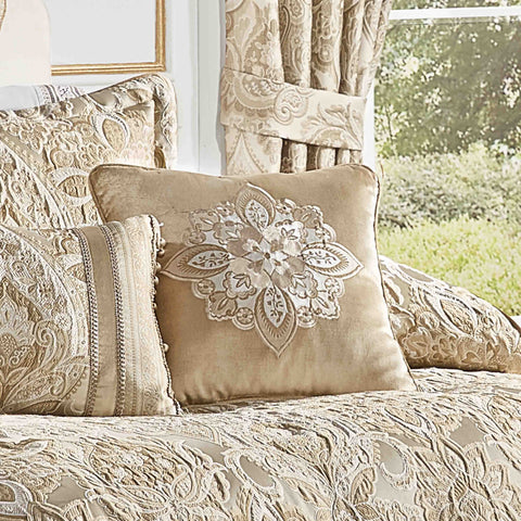 "Sandstone Beige Square Embellished Decorative Throw Pillow 18"" x 18"" [Luxury comforter Sets] [by Latest Bedding]"
