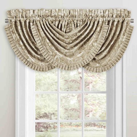 Sandstone Beige Waterfall Window Valance [Luxury comforter Sets] [by Latest Bedding]