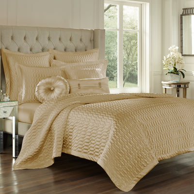Satinique Gold Coverlet [Luxury comforter Sets] [by Latest Bedding]