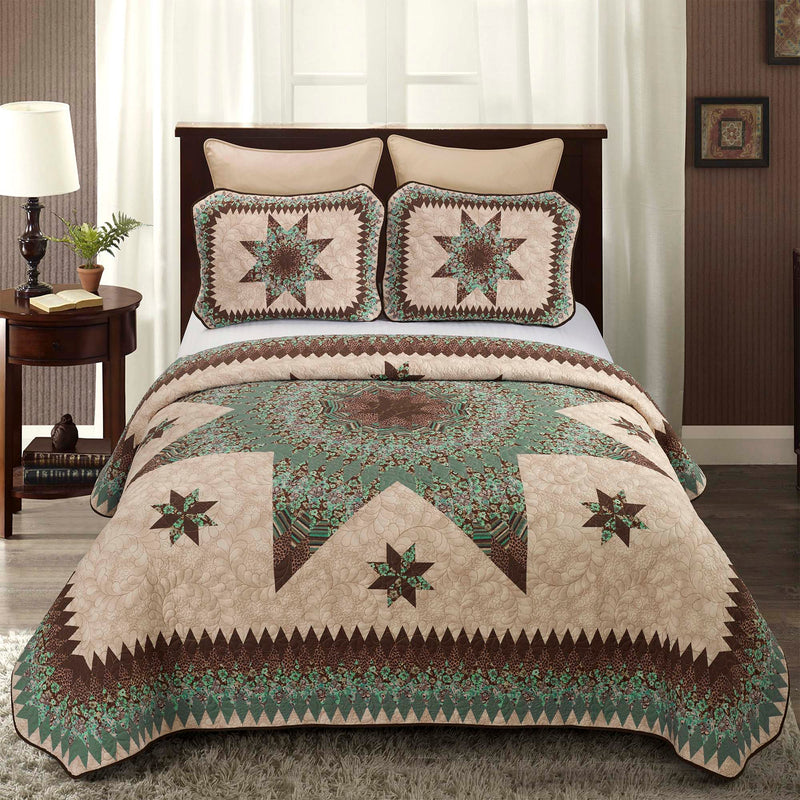 Sea Breeze Star 3-Piece Quilt Set [Luxury comforter Sets] [by Latest Bedding]