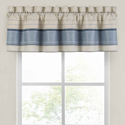 Silas Blue Double Layered Window Valance [Luxury comforter Sets] [by Latest Bedding]