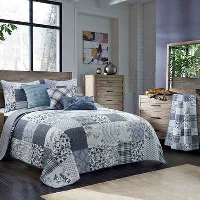 Silver Branch Blue Quilt [Luxury comforter Sets] [by Latest Bedding]