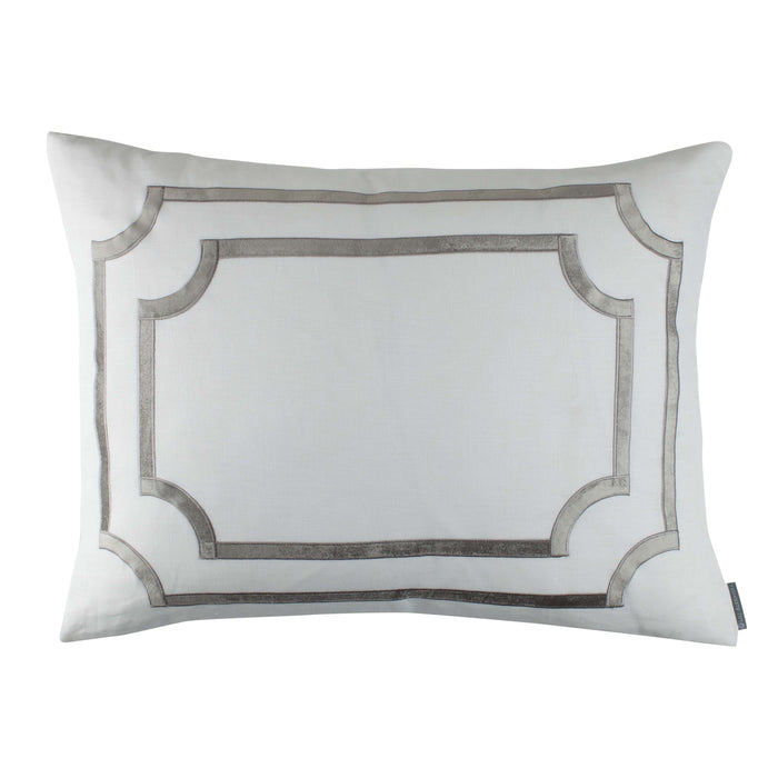 Soho White Linen Silver Velvet Pillow