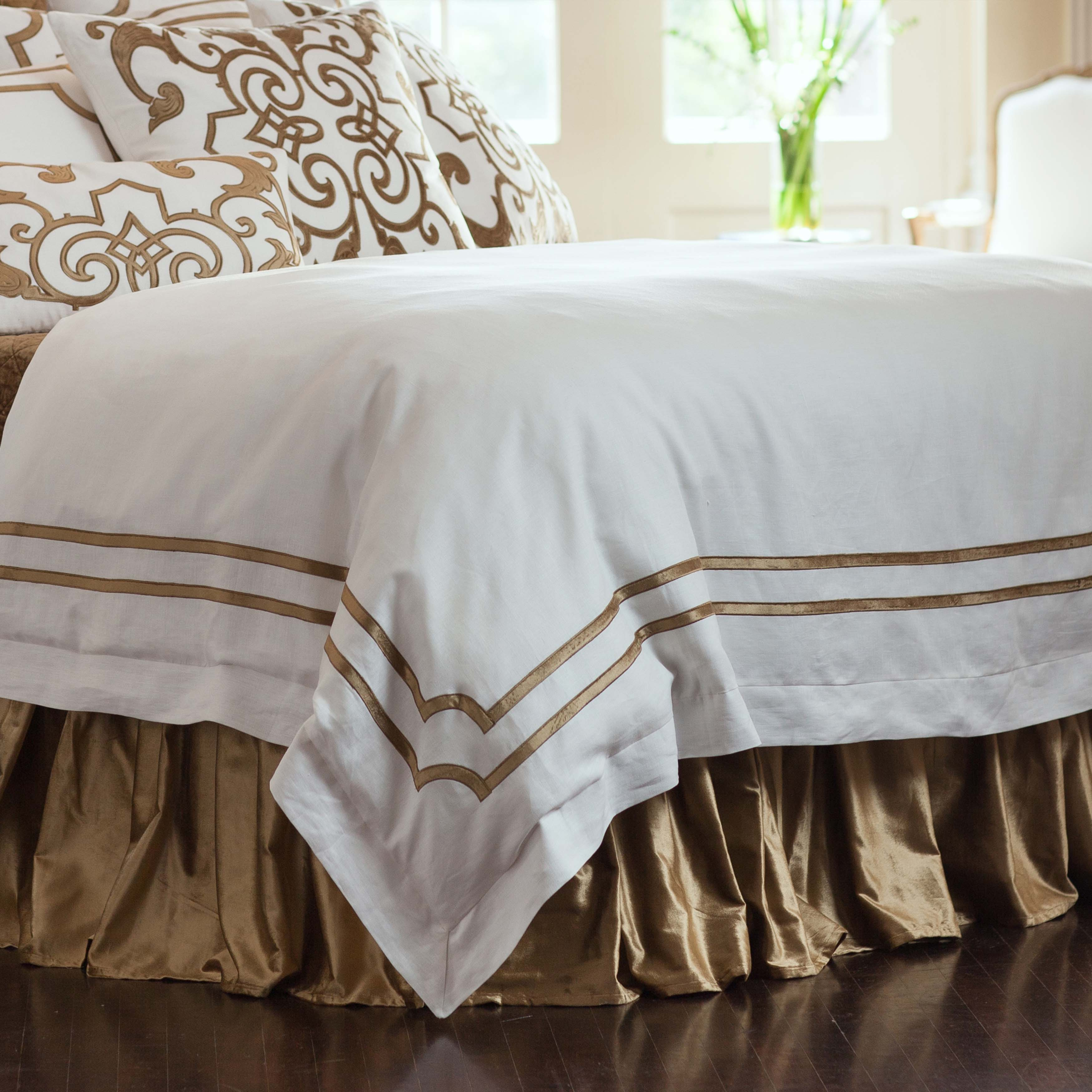 Soho White Linen Straw Velvet Duvet Cover [Luxury comforter Sets] [by Latest Bedding]