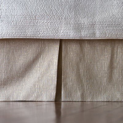 Sophia Ivory Linen & Cotton 3-Panel Bedskirt [Luxury comforter Sets] [by Latest Bedding]