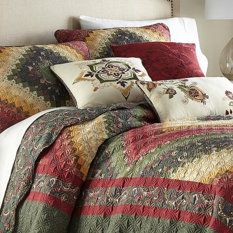 Spice Postage Stamp 3-Piece Microfiber Ultra Comfort Quilt Set [Luxury comforter Sets] [by Latest Bedding]