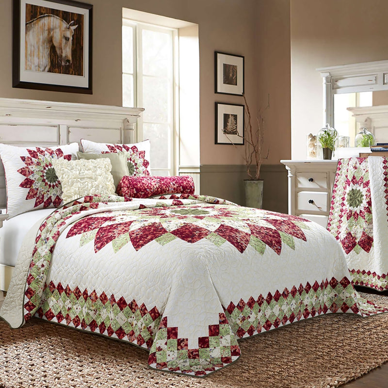 Spring Field Dahlia Quilt [Luxury comforter Sets] [by Latest Bedding]
