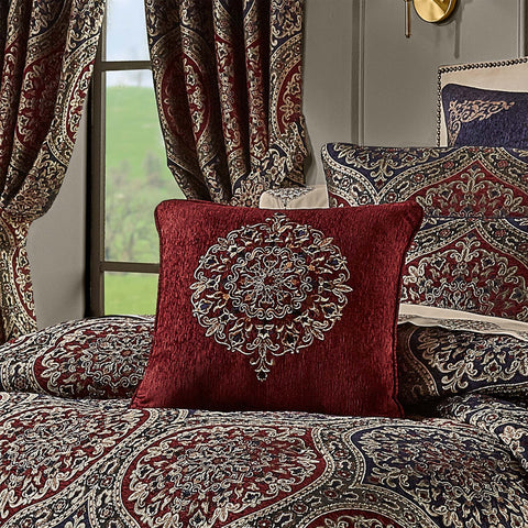 "Taormina Red Throw Pillow 18"" X 18"" [Luxury comforter Sets] [by Latest Bedding]"