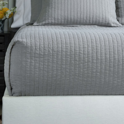 Tessa Light Grey Linen Quilted Coverlet Coverlet By Lili Alessandra