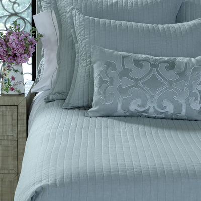 Tessa Sky linen Quilted Coverlet [Luxury comforter Sets] [by Latest Bedding]