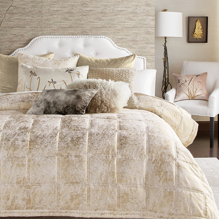 Metallic Textured Ivory Quilt - Michael Aram