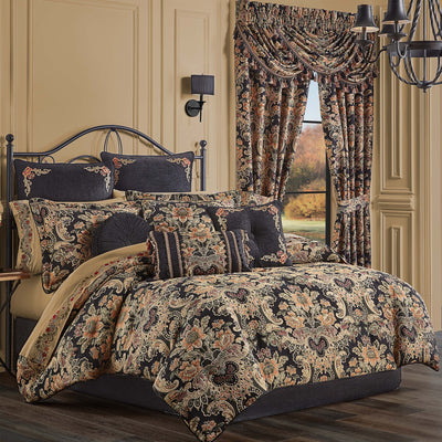 Toscano Black 4-Piece Comforter Set [Luxury comforter Sets] [by Latest Bedding]