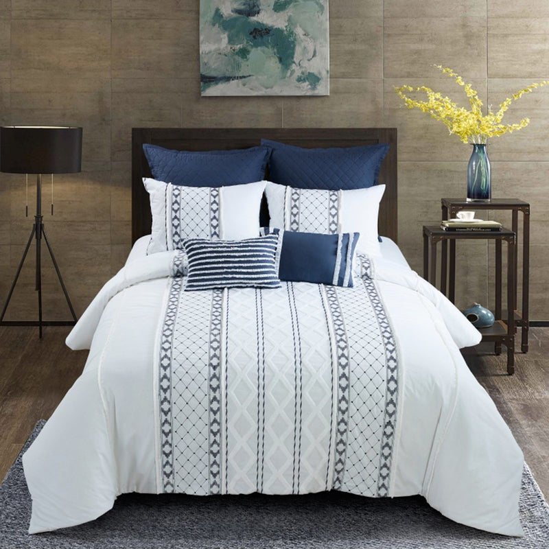 Trellis Embroidered 3-Piece Comforter Set [Luxury comforter Sets] [by Latest Bedding]