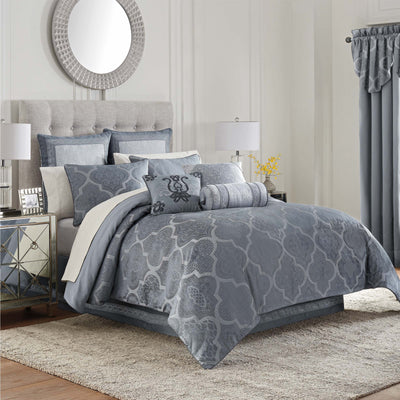 Trento Blue 4-Piece Reversible Comforter Set Comforter Sets By Waterford