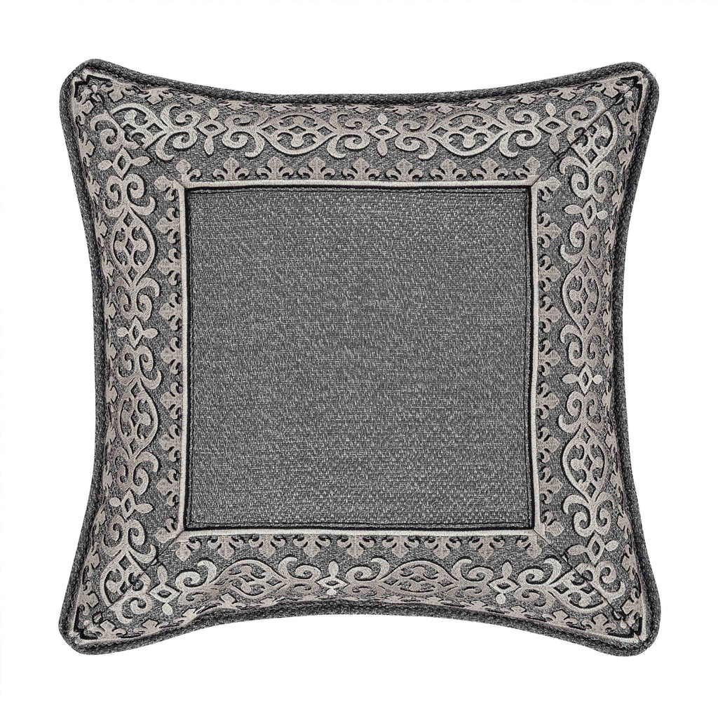 "Tribeca Charcoal Square Embellished Decorative Throw Pillow 18"" x 18"" [Luxury comforter Sets] [by Latest Bedding]"
