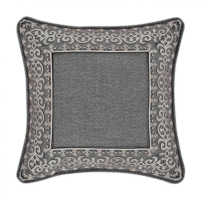"Tribeca Charcoal Square Embellished Decorative Throw Pillow 18""W x 18""L""- Throw Pillows By J. Queen New York"