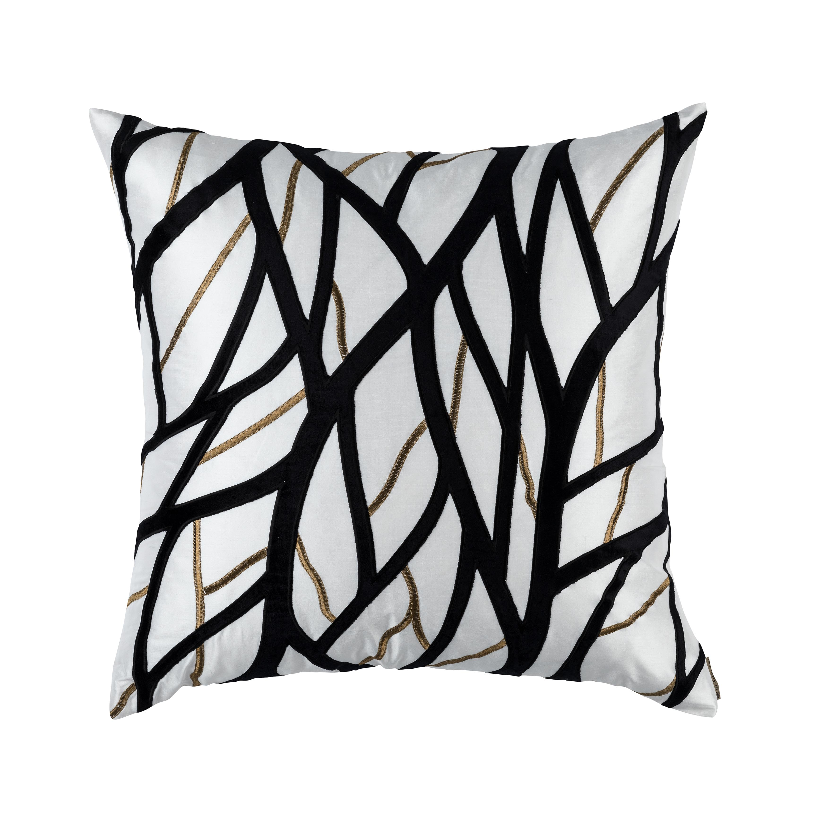 Chloe Ivory/Gold Twig Embroidery Black Velvet Euro Throw Pillow Throw Pillows By Lili Alessandra