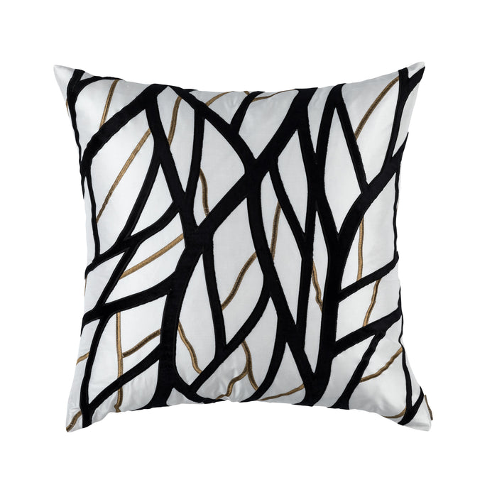 Chloe Ivory/Gold Twig Embroidery Black Velvet Euro Throw Pillow