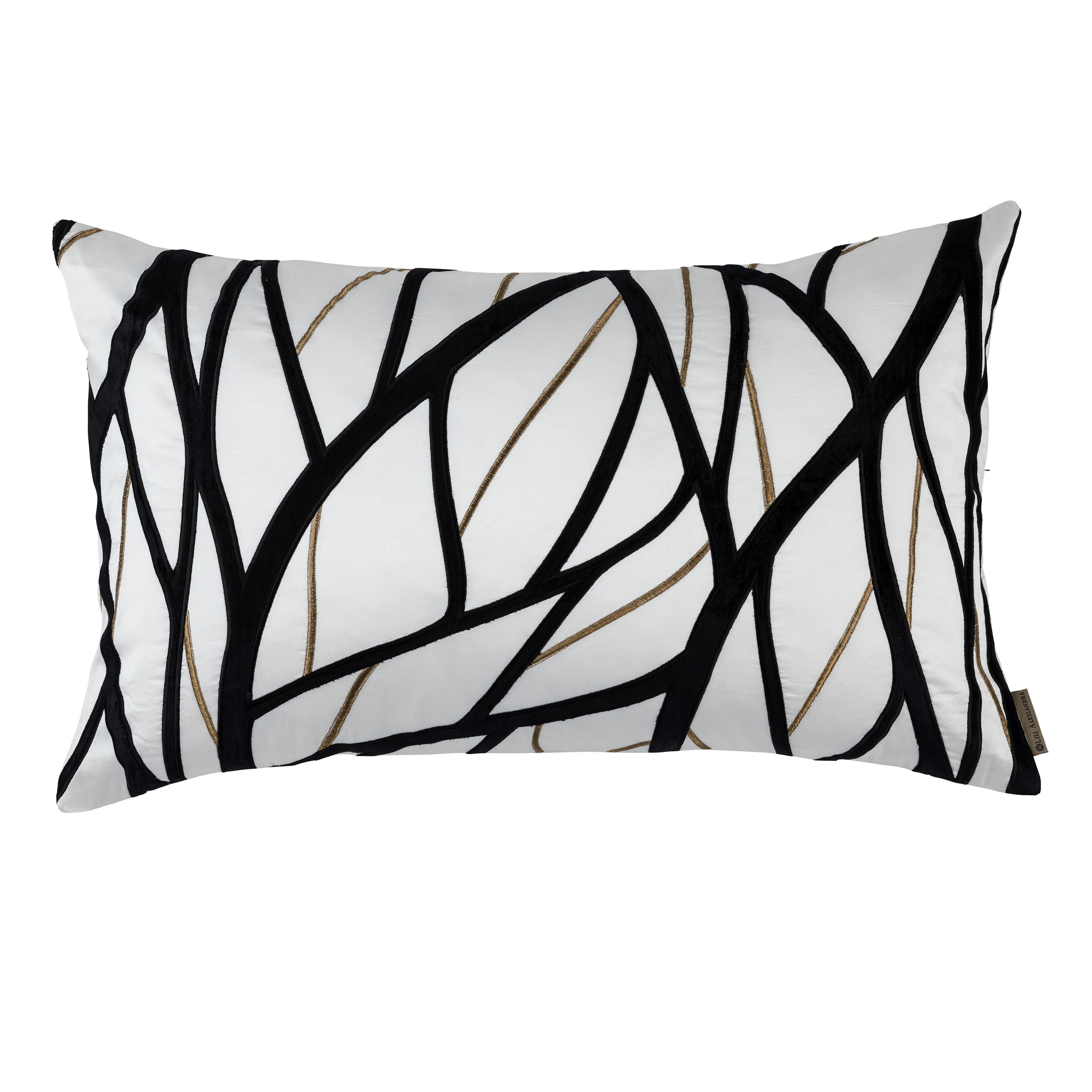 Chloe Ivory/Gold Twig Embroidery Black Velvet Large Rectangle Throw Pillow [Luxury comforter Sets] [by Latest Bedding]