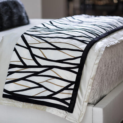 Chloe Ivory/Gold Twig Embroidery Black Velvet Throw Throws By Lili Alessandra