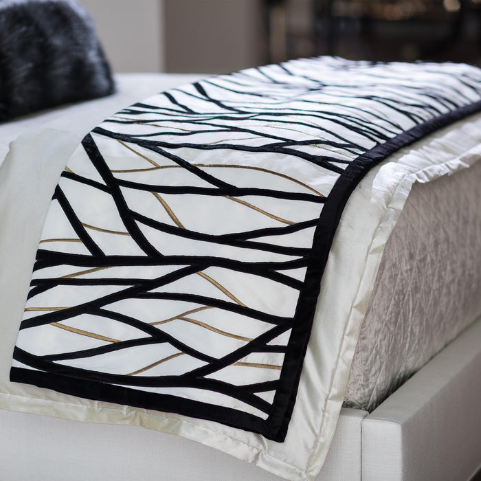 Chloe Ivory/Gold Twig Embroidery Black Velvet Throw