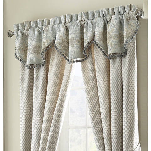 Valance Jonet Cream/Aqua 3 Piece Cascade Valance Set by Waterford Latest Bedding