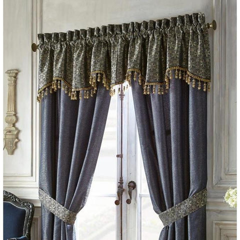 Valance Vaughn Navy/Gold Scalloped Valance by Waterford [Luxury comforter Sets) ( by Latest Bedding)]
