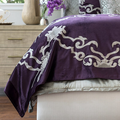 Valencia Plum Velvet Platinum Embroidery Throw Throws By Lili Alessandra