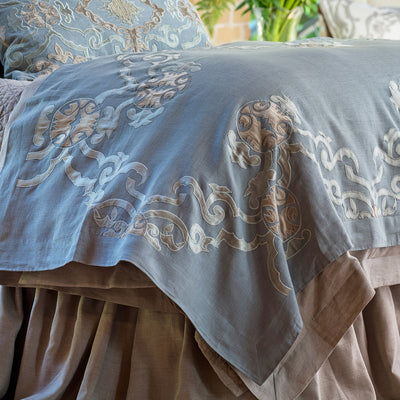 Valencia Slate Linen Fawn Velvet Throw [Luxury comforter Sets] [by Latest Bedding]