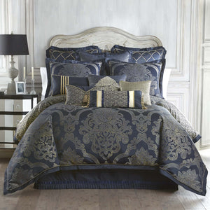Vaughn Navy/Gold 4-Piece Reversible Comforter Set by Waterford [Luxury comforter Sets] [by Latest Bedding]