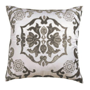 Vendome Ivory Morocco Silk Square Pillow - Lili Alessandra [Luxury comforter Sets] [by Latest Bedding]