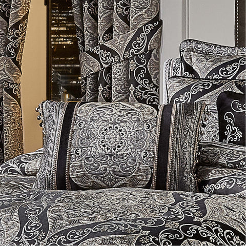 "Vera Black Boudoir Throw Pillow 15"" X 21"" [Luxury comforter Sets] [by Latest Bedding]"