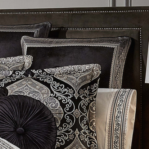 Vera Black Euro Sham [Luxury comforter Sets] [by Latest Bedding]