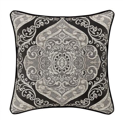"Vera Black Throw Pillow 20"" X 20"" [Luxury comforter Sets] [by Latest Bedding]"