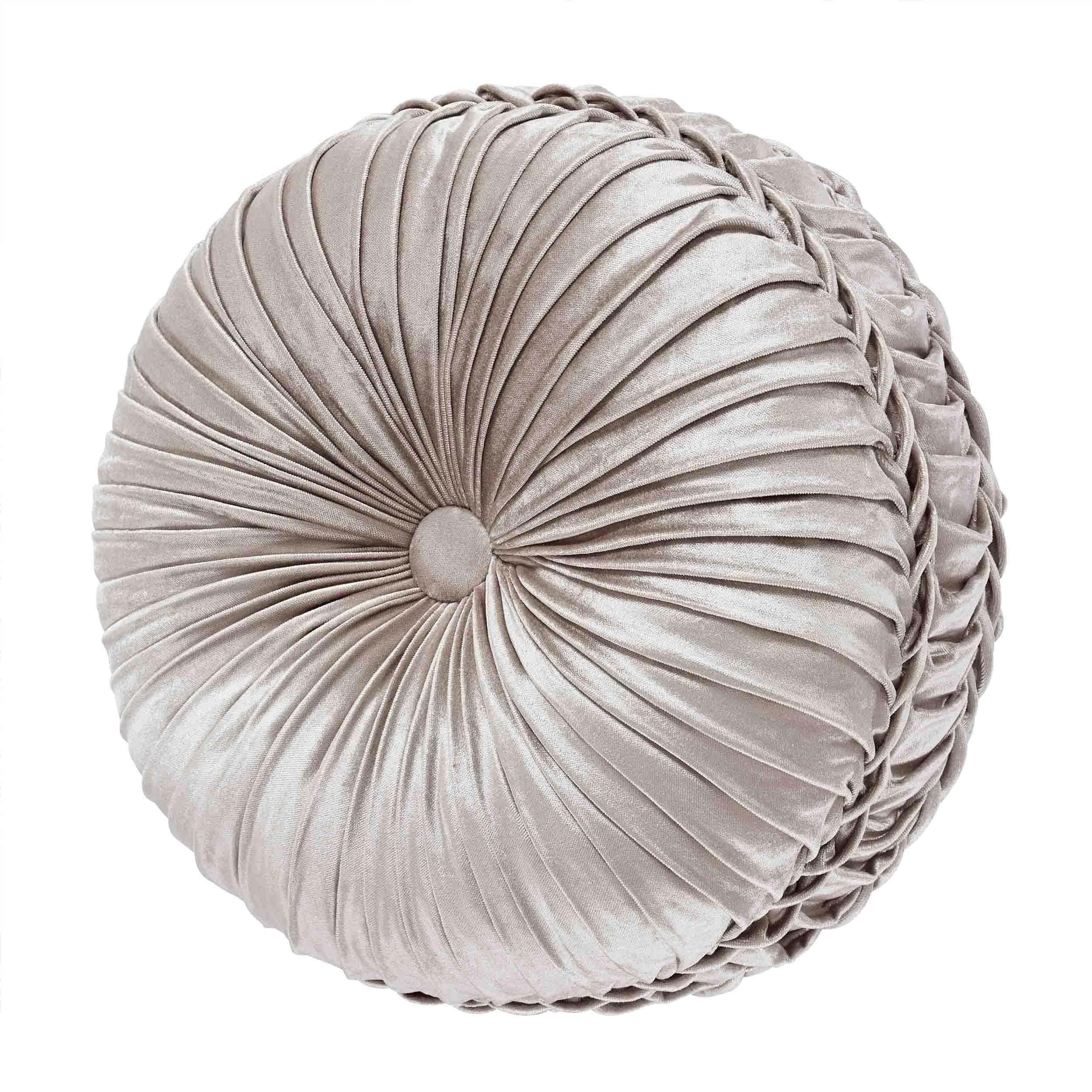 Vera Silver Tufted Round Decorative Throw Pillow [Luxury comforter Sets] [by Latest Bedding]