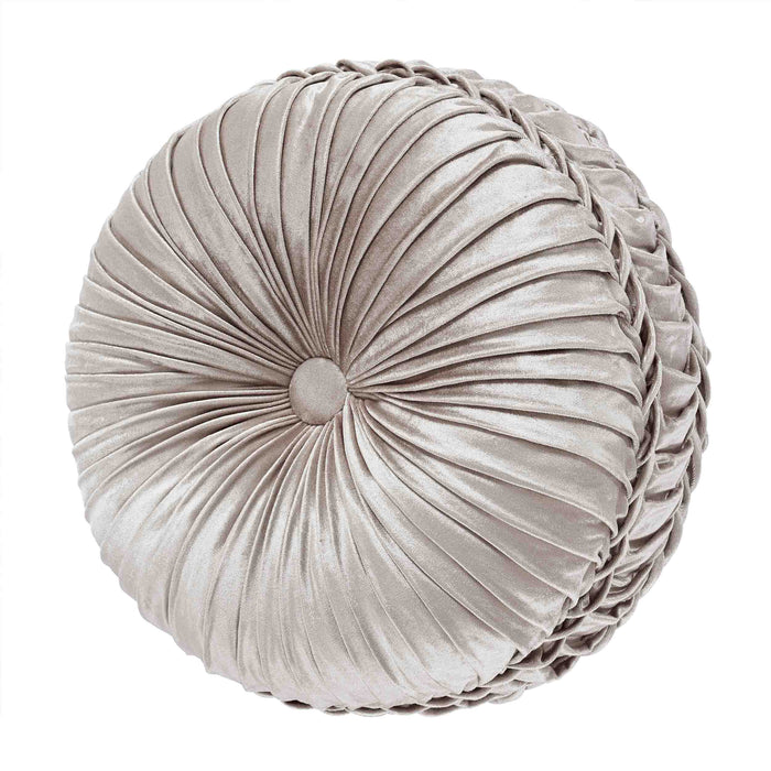 Vera Silver Tufted Round Decorative Throw Pillow