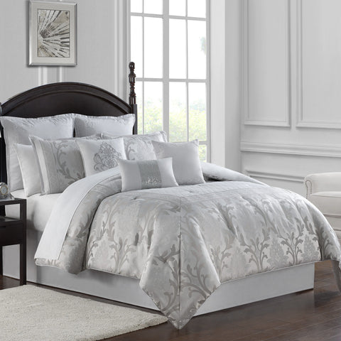 Verina Silver 7-Piece Comforter Set [Luxury comforter Sets] [by Latest Bedding]