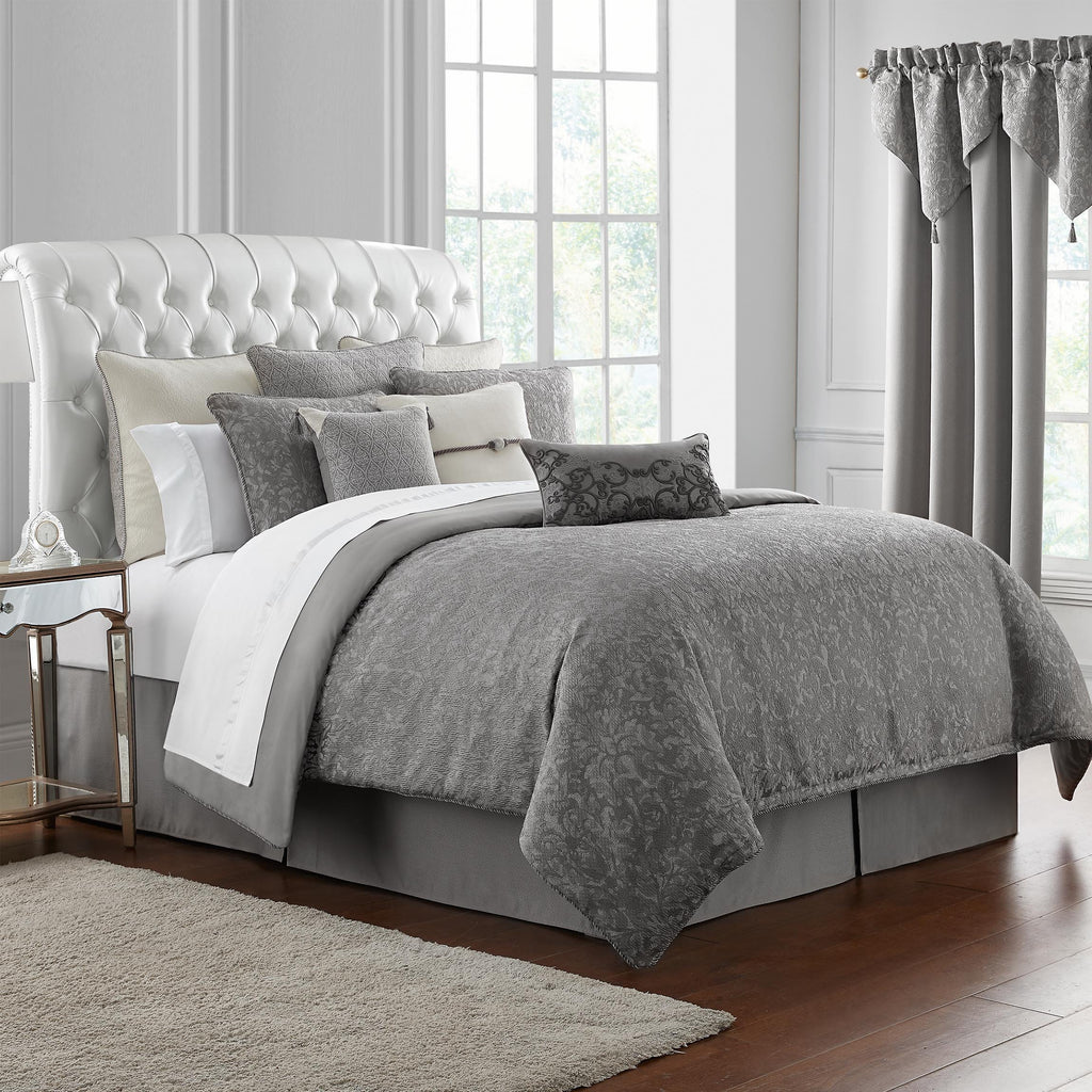 Vernon Grey 4-Piece Reversible Comforter Set [Luxury comforter Sets] [by Latest Bedding]