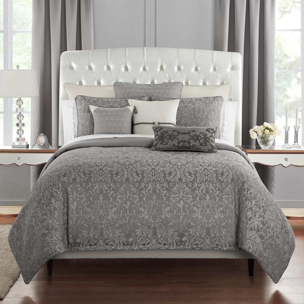 Vernon Grey 3-Piece Reversible Duvet Set [Luxury comforter Sets] [by Latest Bedding]