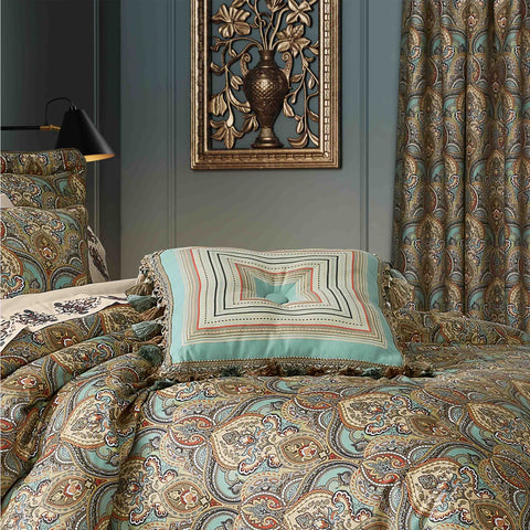 "Victoria Turquoise Square Decorative Throw Pillow 18"" x 18"" [Luxury comforter Sets] [by Latest Bedding]"