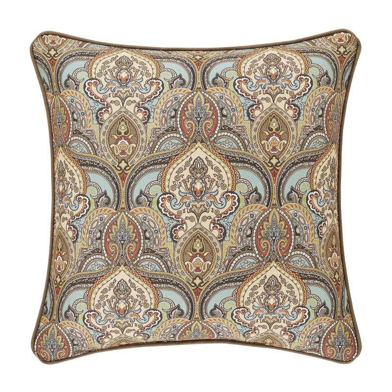 "Victoria Turquoise Square Decorative Throw Pillow 20"" x 20"" [Luxury comforter Sets] [by Latest Bedding]"