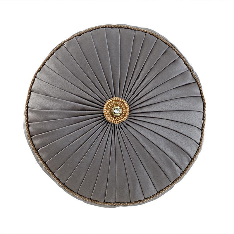 Walton Charcoal/Bronze Round Decorative Pillow [Luxury comforter Sets] [by Latest Bedding]
