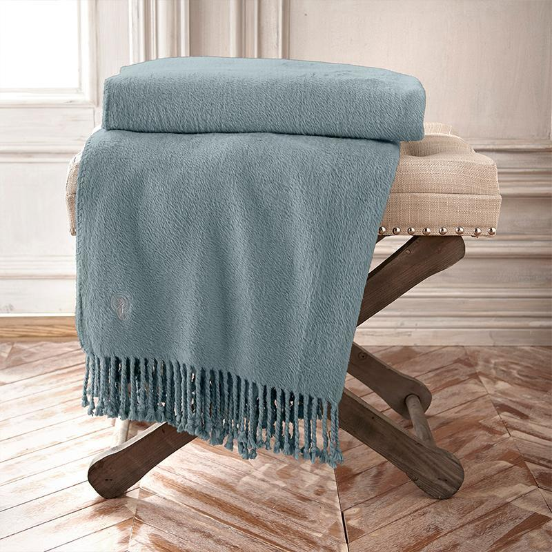 Throws Waterford Connemara Blue Silk Throw Latest Bedding