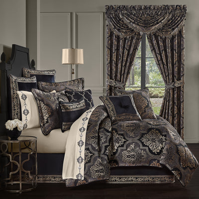Windham Black 4-Piece Comforter Set Comforter Sets By J. Queen New York