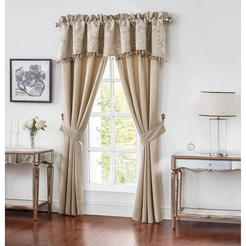 Chantelle Taupe Pole Window Panel Pair by Waterford [Luxury comforter Sets] [by Latest Bedding]