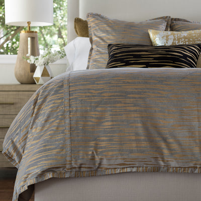 Zara Light Grey Matte Velvet Gold Print Duvet Cover Duvet By Lili Alessandra