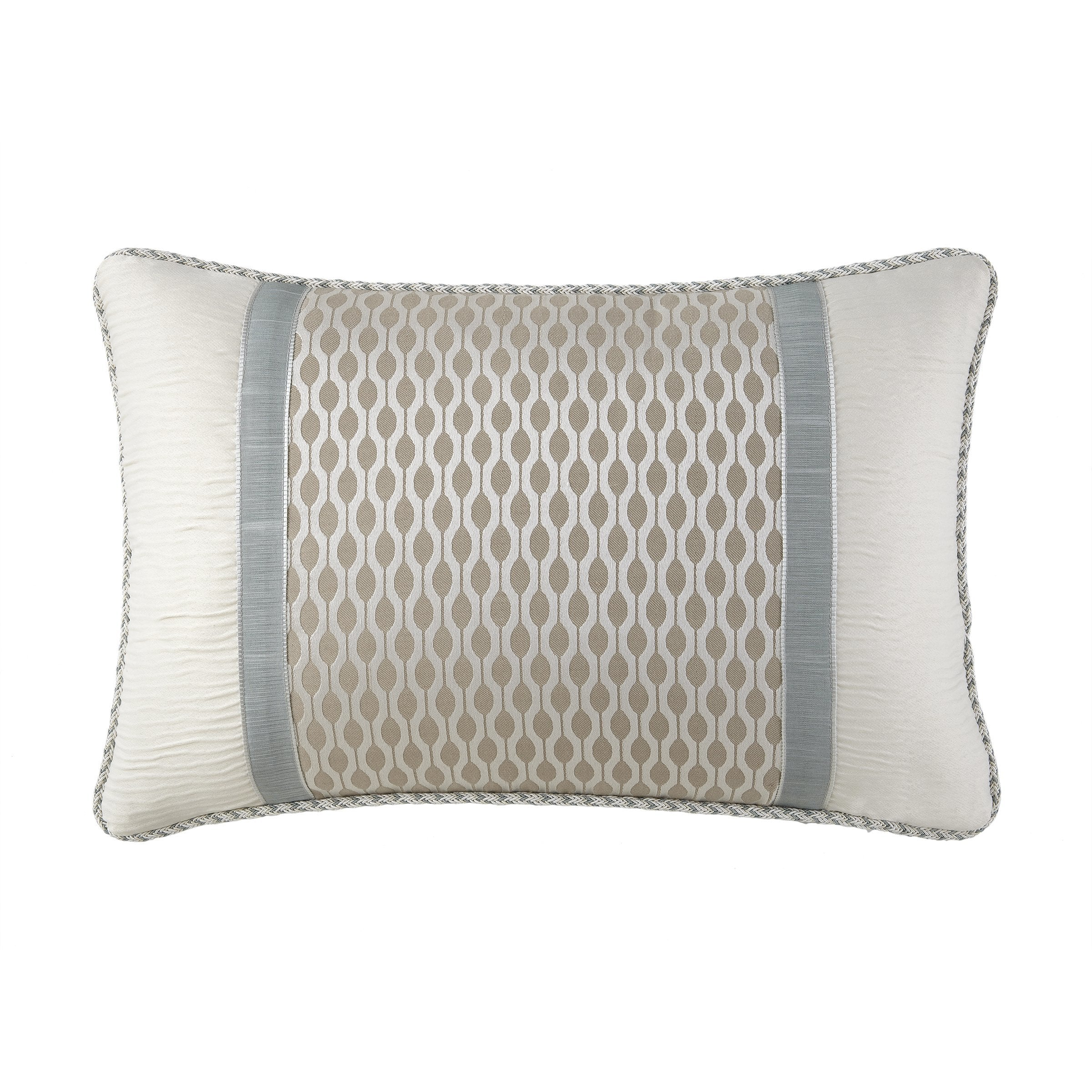 "Jonet Cream/Aqua Dec Pillow 18"" x 12"" Throw Pillows By Waterford"