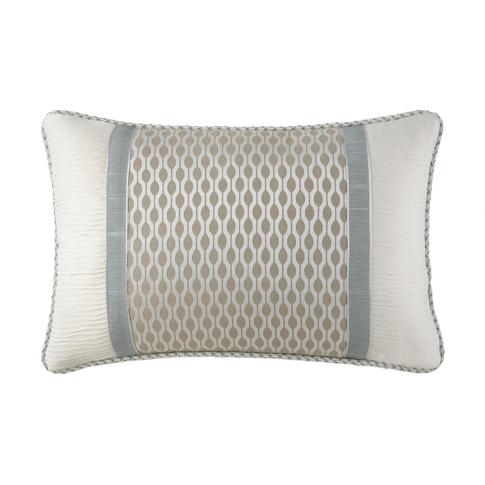 "Jonet Cream/Aqua Dec Pillow 18"" x 12"""