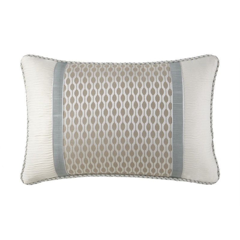 "Jonet Cream/Aqua Dec Pillow 12""x18"" by Waterford [Luxury comforter Sets] [by Latest Bedding]"
